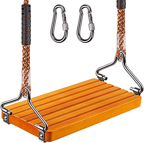 SELEWARE 17.5 X 8.2 Non Slip Wooden Swing, Hanging Wooden Tree Swing Seat with Length Adjustable Nylon Rope and Stainless Steel Snap Hook Swing Set for Adult Kid Indoor Outdoor Playground Backyard
