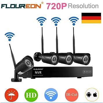 FLOUREON Kit de videovigilancia 4 ch HD DVR NVR WiFi Seguridad con 4 Cámaras de vigilancia