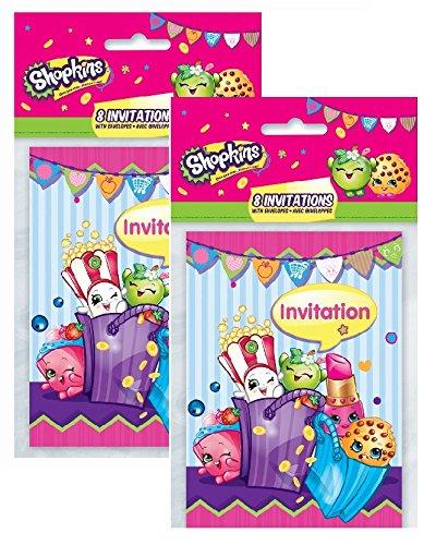 Shopkins Invitations ~ Pack of 16 Unique