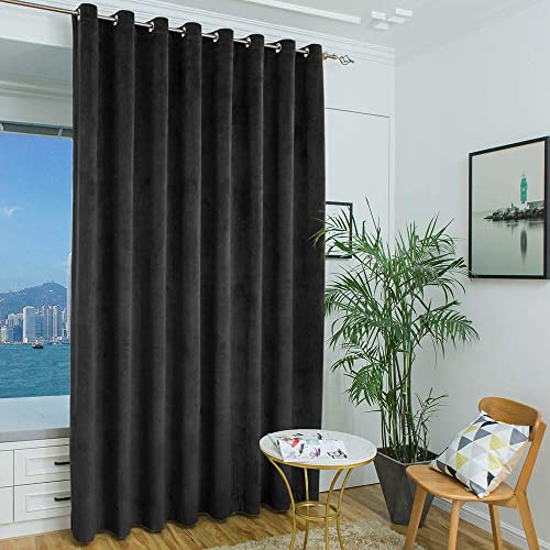 Eamior Sliding Door Curtains Blackout Velvet – Long Window Panels for Bedroom Living Room Office Studio Apartment Guest Room Black, 10 ft Tall x 8.3 ft Wide, 1 Panel