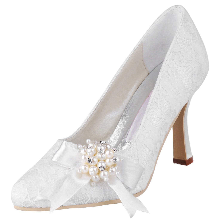 ZHRUI damen MZ563 Round Toe High Heel Perlen Broknot Spitze Braut Pumps (Farbe   Ivory-9cm Heel Größe   7 UK)