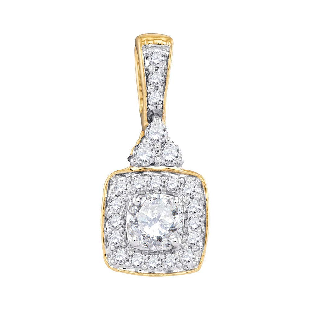 10kt Yellow gold Womens Round Diamond Solitaire Square Frame Pendant 1 2 Cttw