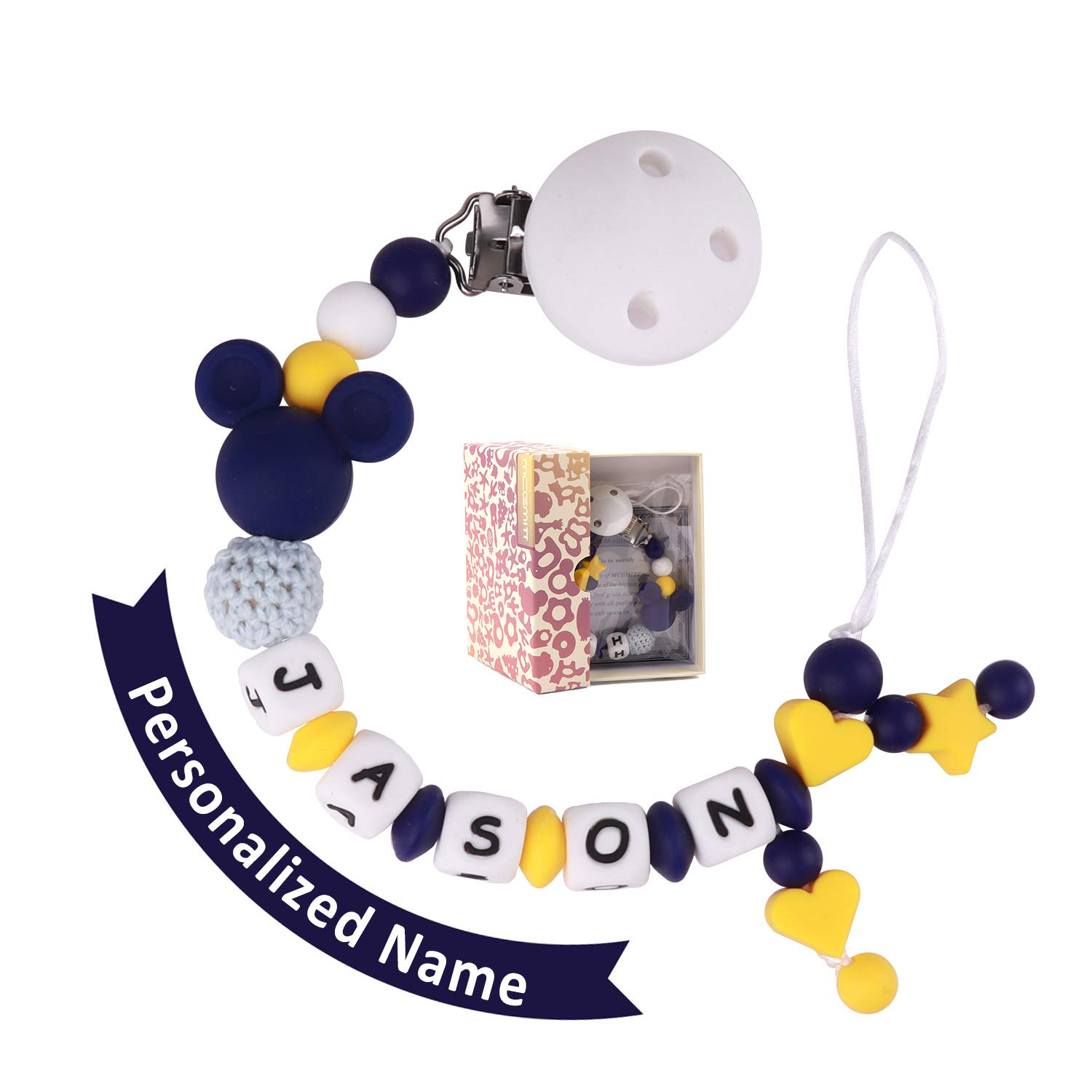 Dummy Clips Personalised Name Boys Baby Pacifier Chain Dummy Holders with Silicone Teething Toys(Yellow and Blue)