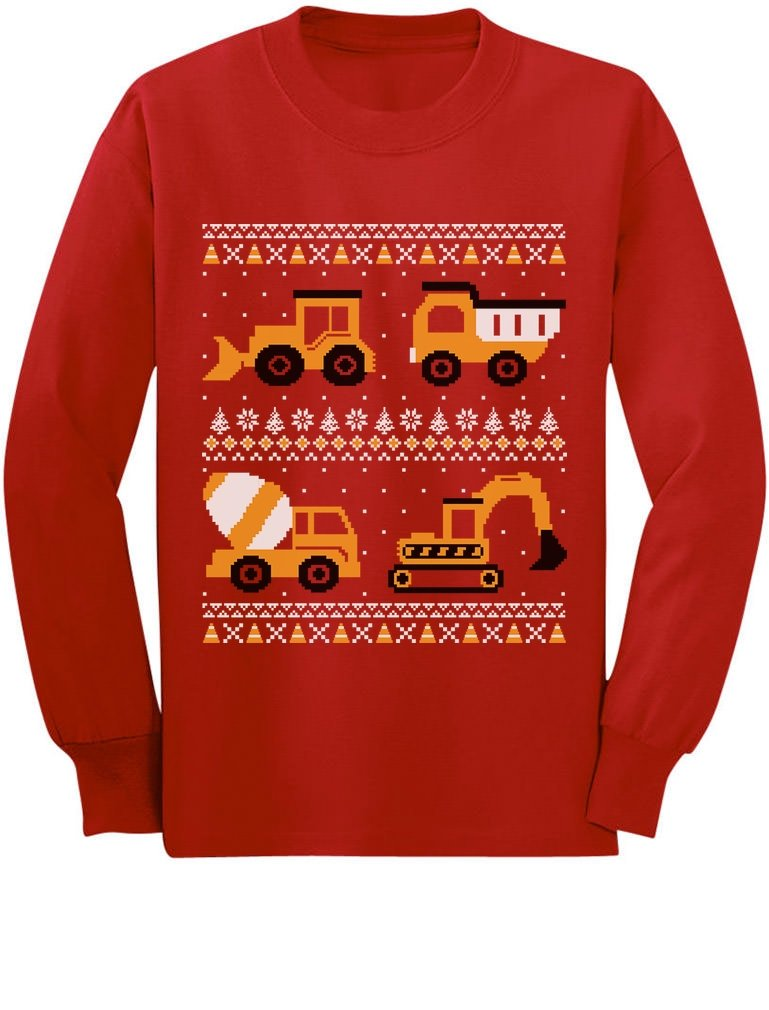 tractors bulldozers ugly christmas sweater toddlerkids long sleeve t shirt
