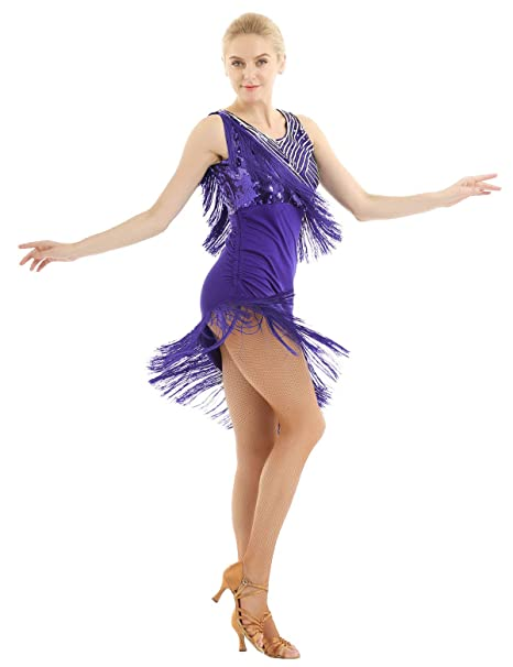 ranrann Vestido de Baile Latino Flecos para Mujer Vestido de ...