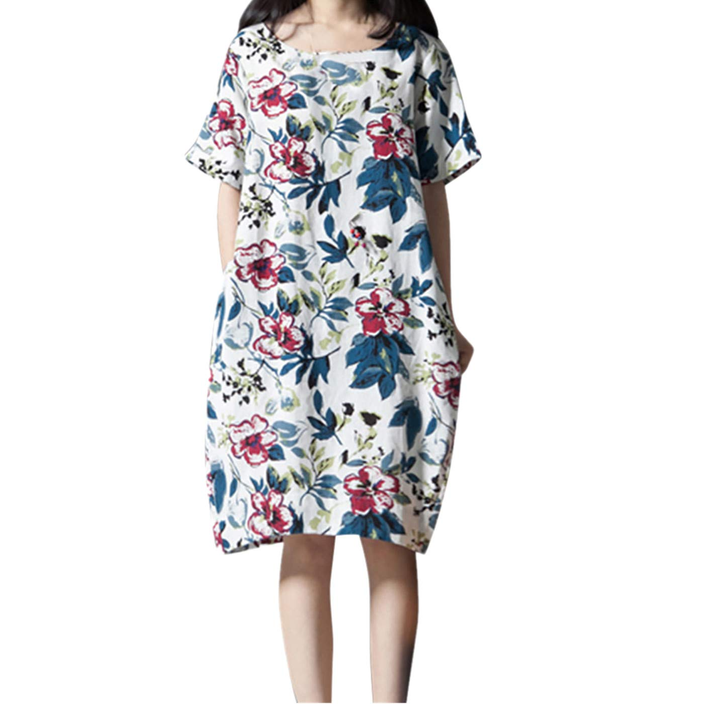 PASATO M-5XL Plus Size Women's Casual Short Sleeve O-Neck Floral Print Cotton Dress With Pockets T-Shirt Dress(White,M=US:S) by PASATO Dress (Image #1)