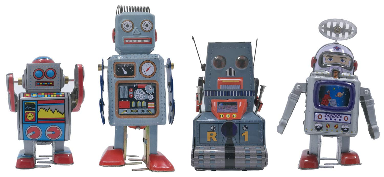 4 pcs tin Toy Robot and Astronaut Collection Retro 80s Vintage windup Metal, Cool Crazy Nerdy Xmas Gift