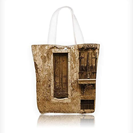 Ladies canvas tote bag Vintage of Old House after War Traditial European  Window Home reusable shopping 13401aa4cb13d