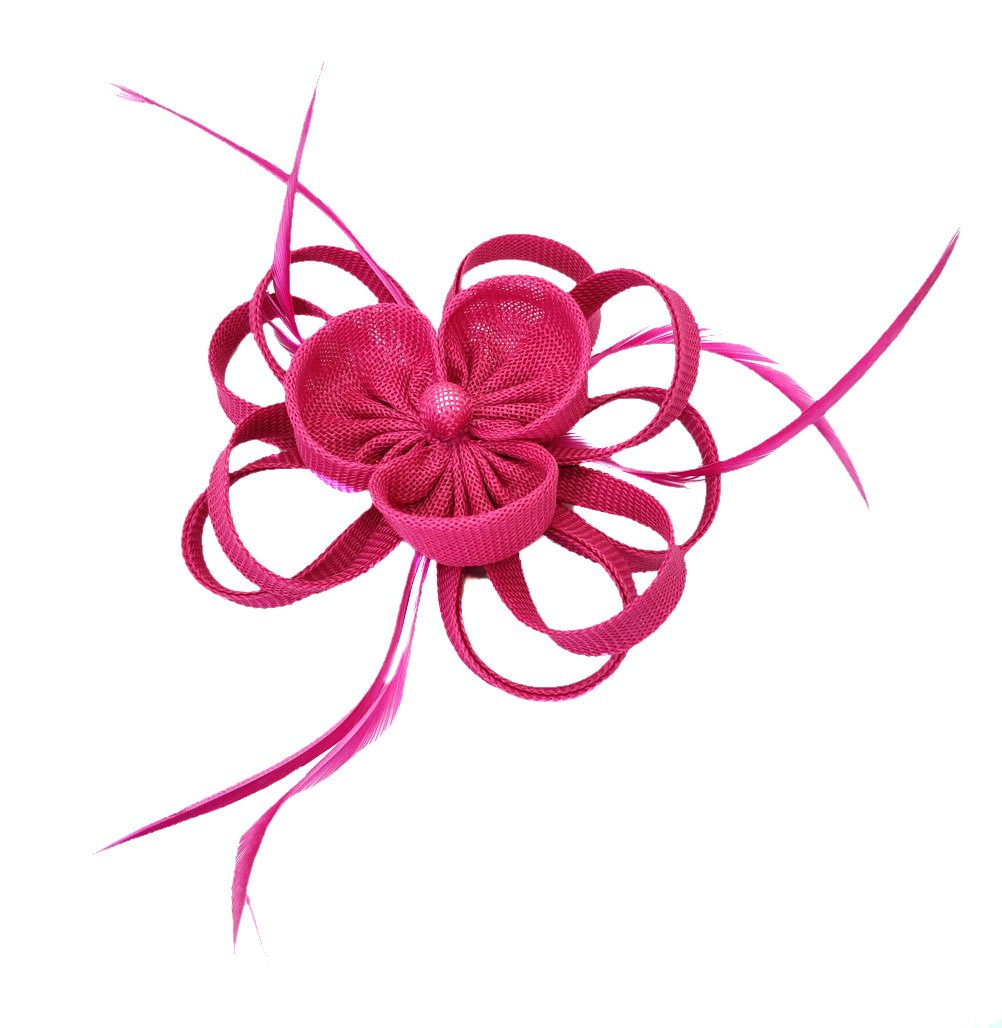 Ahugehome Fascinator Headband Hairclip Flower Feather Netting Mesh Cocktail Hat Party (JO Rose Red Fuschia)