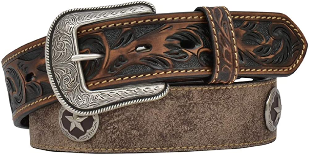 3D Mens 1 1//2 x 32 Distressed Brown Tooled Floral Leather Star Concho Western Belt