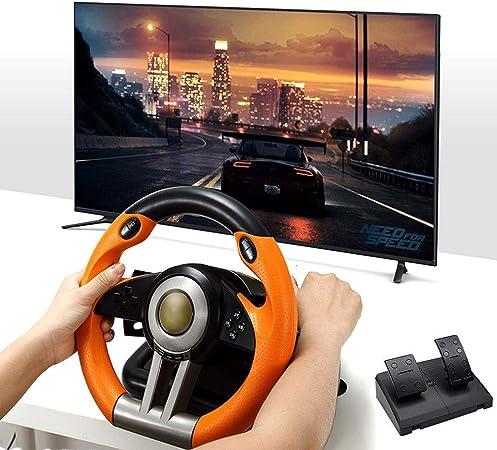 LLGHT Volante de Juego con Pedales y Retroalimentación de Vibración, Engranaje Profesional, USB con Cable, PC / PS3 / PS4 / Xbox-One/Switch, Volante de Carreras de Retroalimentación de Fuerza: Amazon.es: Hogar