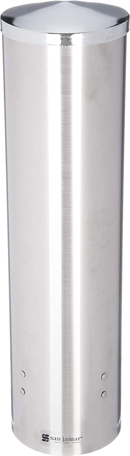 San Jamar C3450 Stainless Steel Large Pull Type Water Cup Dispenser, Fits 8oz to 12oz Cone and 12oz to 24oz Flat Cup Size, 3-1/4