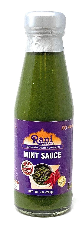 Rani Mint Sauce (Savory Dipping Sauce) 7oz (200g) Glass Jar, Ready to eat, Vegan ~ Gluten Free | NON-GMO | Indian Origin