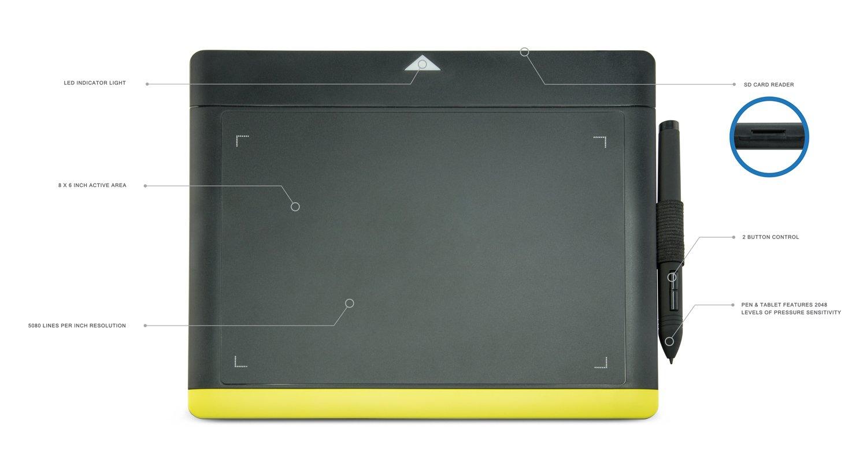 Turcom ts-680 tableta gráfica tabletas y bolígrafo/lápiz capacitivo con tarjeta SD para PC Mac Ordenador, 8 x 6 pulgadas superficie 2048 Niveles de ...