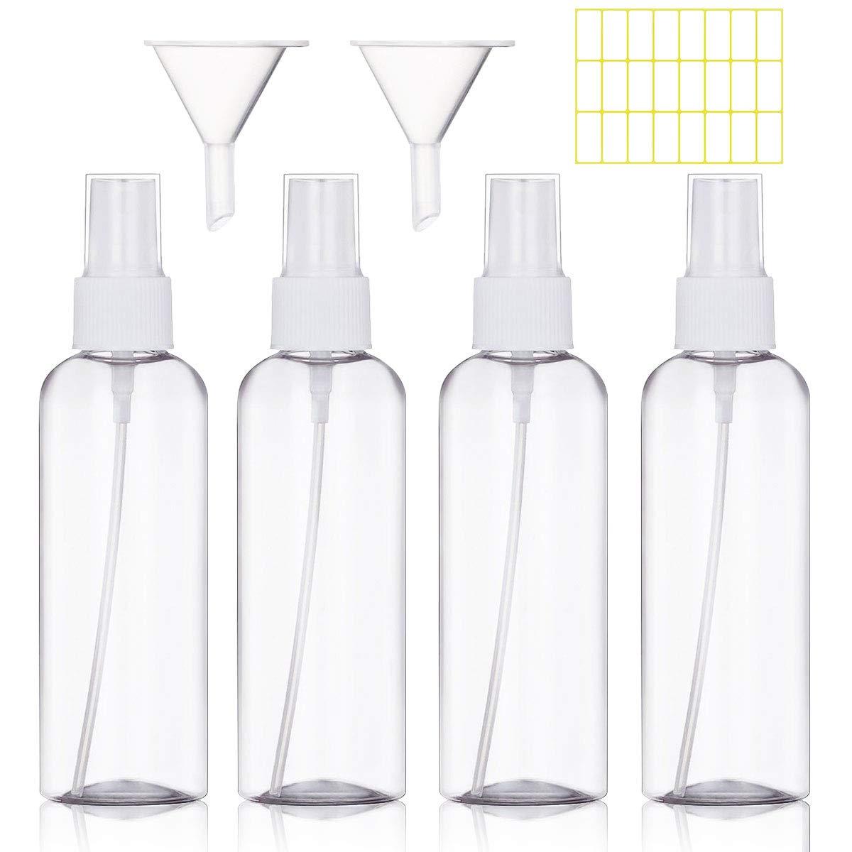 Spray Bottle Empty Plastic Transparent Fine Mist Travel Atomiser Spray Bottles Set (4 * 100ml,White)