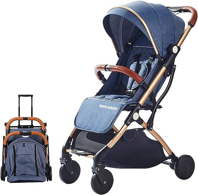 SONARIN Silla de paseo ligera y compacta,cochecito de portátil,plegable con una mano,arnés de cinco puntos,ideal para Avión(Azul): Amazon.es: Bebé