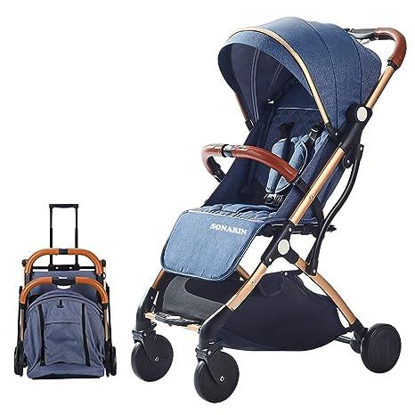 SONARIN Silla de paseo ligera y compacta,cochecito de portátil,plegable con una mano,arnés de cinco puntos,ideal para Avión(Azul)