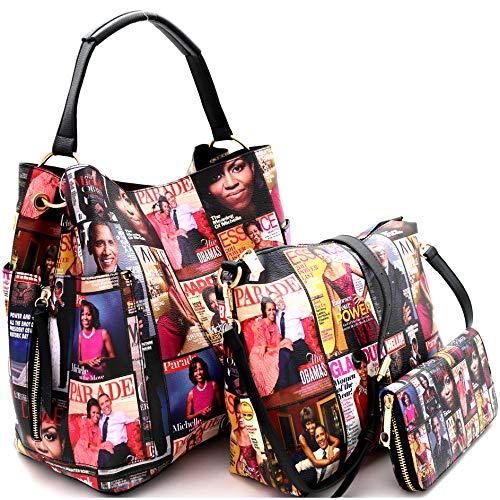 Michelle Obama Magazine Cover Print Multi Pocket 3 in 1 Single Strap Hobo Purse Handbag Crossbody Bag Wallet SET (Matte Leather - MT) ()