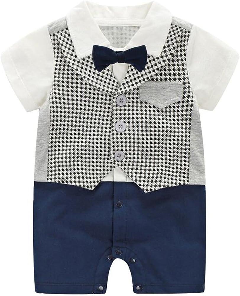 Fairy Baby Summer Baby Boy Gentleman Outfit Formal Short Sleeve Bowtie Tuxedo Dress Suit…