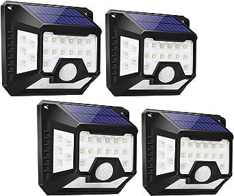 Focos LED Exterior Solares 32 LED (4 Pack), LE Lámpara Solar con Sensor de Movimiento, Blanco