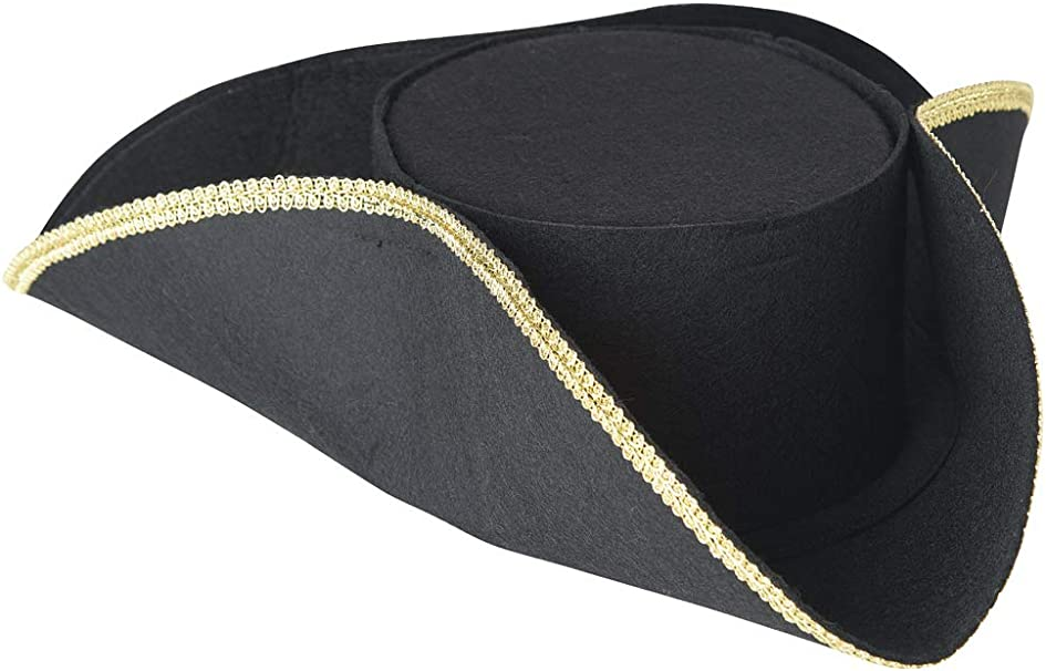 Black Tricorn Mens Colonial Pirate Hat Adult Gold Trim 3 Side Costume Accessory
