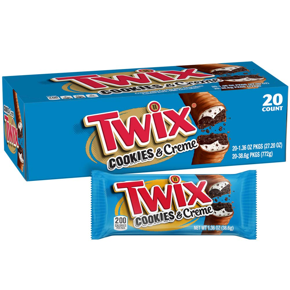 TWIX Cookies & Creme Chocolate Cookie Bar Candy, 1.36-Ounce (Pack Of 20)