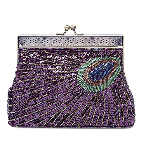 KISSCHIC Vintage Beaded Sequin Peacock Clutch Purse Evening Bags (Purple)