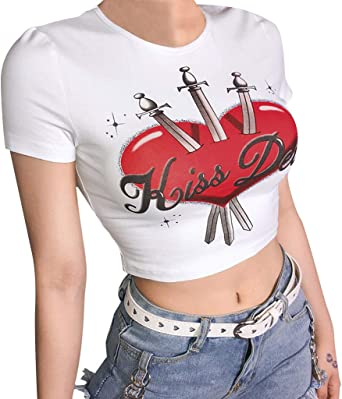 Mothers Day Navel Female T-Shirt for Girls Women Womans Youth Girls Tops Short Sleeve Tshirt Blouse Dew Navel
