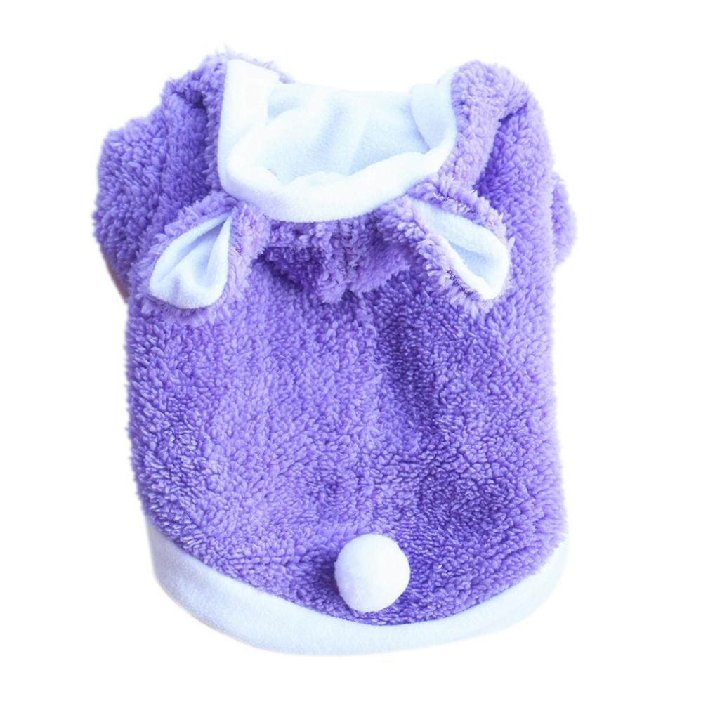 DIGOOD Small Dog Cat Velvet Rabbit Hooded Coat Pet Puppy Fashion Keep Warm Thick Jacket Clothes (Purple, XS)