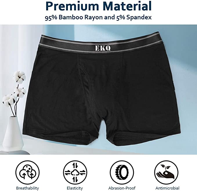 EKQ Mens Bamboo Underwear Boxer Multipack Briefs Breathable Tagless Underpants with Fly Pouch Comfy Stretch Mens Trunk 4-Pack