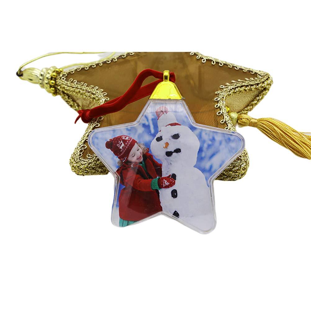 CJMRI D/écoration de No/ël pour Sapin Transparente Cadre Photo Suspendu en Plastique Ornements De Cinq /Étoiles Boules De No/ël Photo Personnalisables Cadeaux pour Enfants