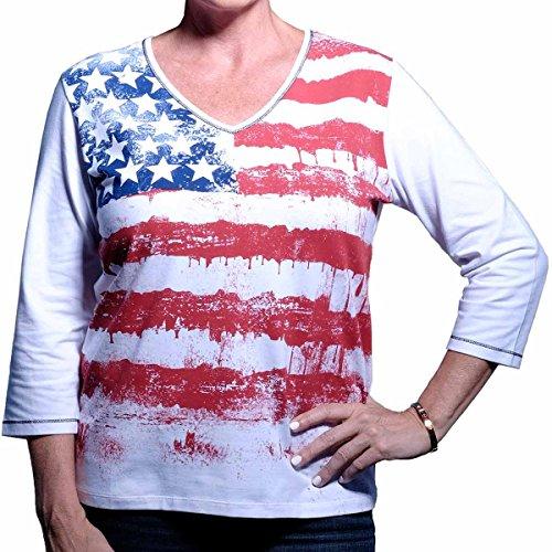 American Summer Ladies 3/4 Sleeve Printed Knit Shirt