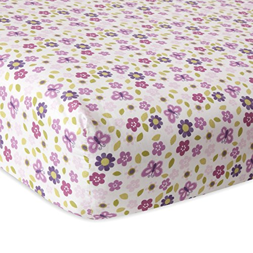 Lambs & Ivy Hopscotch Jungle Floral Crib Sheet, Pink/Purple/White (Jungle Pink)
