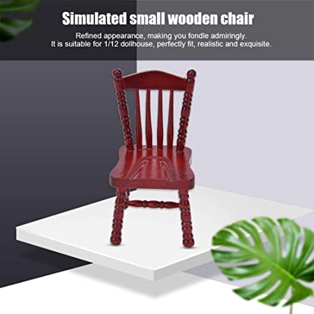 Doll House Furniture Wooden Red Chair Exquisite Miniature Armchair Photo O6J7 2X