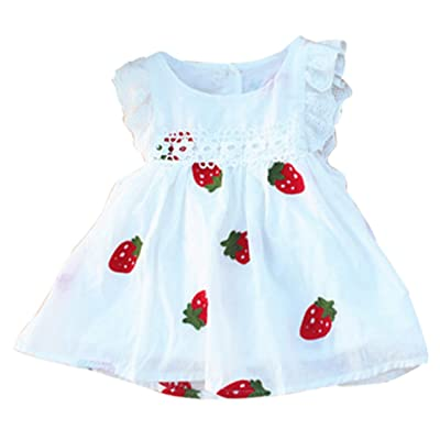 JiaYou Infant Baby Girl Round Neck Sleeveless Floral Printed Dress
