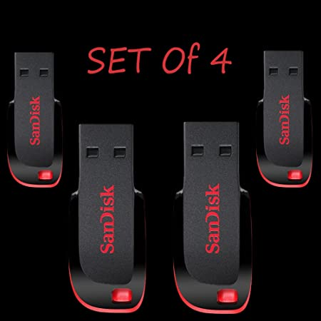 Sandisk Cruzer Blade CZ50 USB Flash Drive pack of 4 32GB USB 2.0 Pendrive External Memory Card Readers at amazon
