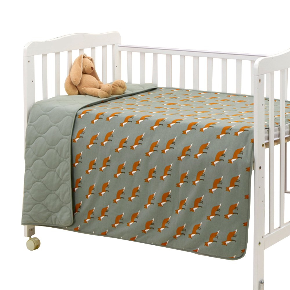 EsTong Baby Pure Cotton Knit Soft Reversible Cartoon Printing Crib Quilt Blanket For Toddler Dark Blue Elk