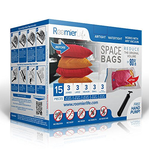(RoomierLife Premium Space Saver Bags 15pcs Variety Pack (3 x Small, Medium, Large, Jumbo & 3 x Travel Roll-Up Compression) Ziplock Vacuum Storage Bags)