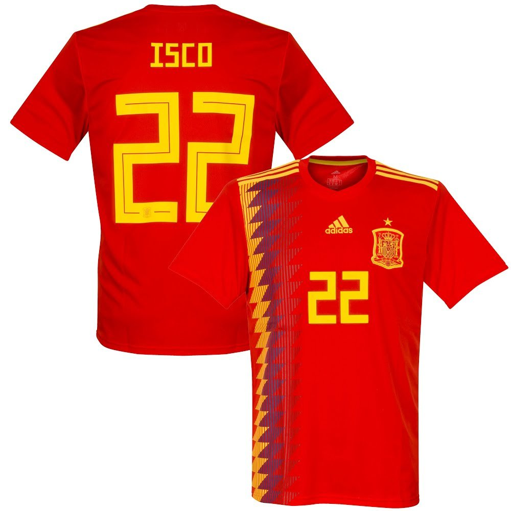 promo code 7ef4b 3ca8d Amazon.com  adidas Spain Home ISCO Jersey 20182019 (Official Printing)   Sports  Outdoors