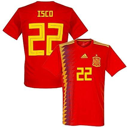 84624e39e Amazon.com   adidas Spain Home ISCO Jersey 2018 2019 (Official Printing)    Sports   Outdoors