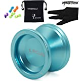 Responsive Beginners Yoyo Bal Bearing MAGICYOYO V6 LOCUS SPACE Aluminum Metal Yoyos Ball for Learner Kids with Bag Glove 5 Strings Blue