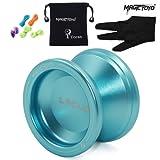 MAGICYOYO Responsive Beginners Yoyo Ball V6 LOCUS SPACE Aluminum Metal Yoyos Ball for Learner Kids with Bag Glove 5 Strings Blue