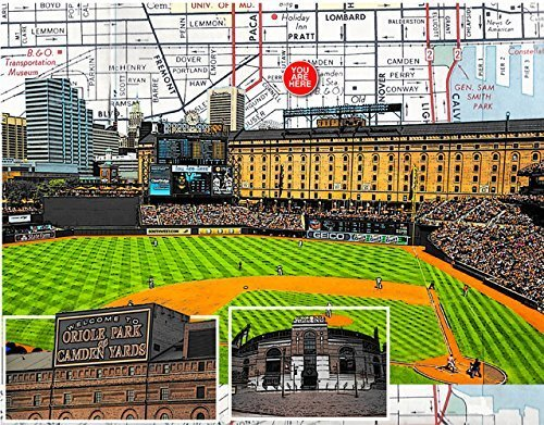 Baseball, Baltimore Camden Yards, home of the Orioles, souvenir fine art print, original map print, 8.5