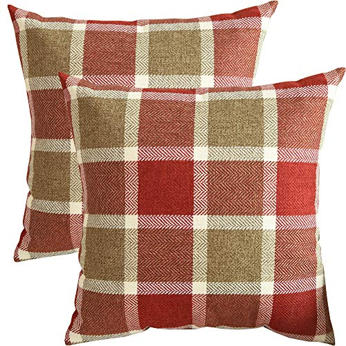 (SUNOOMY Pack of 2 Plaids Square Decorative Throw Pillow Cover Cushion Case for Sofa Couch Bed Chair,Red,18