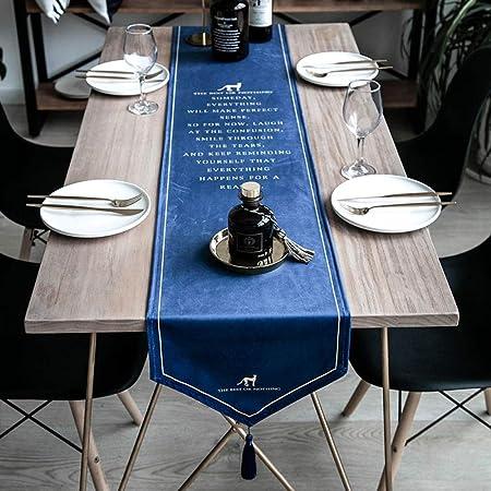 Camino De Mesa,Vintage Terciopelo Azul Bandera De Mesa Moderno ...