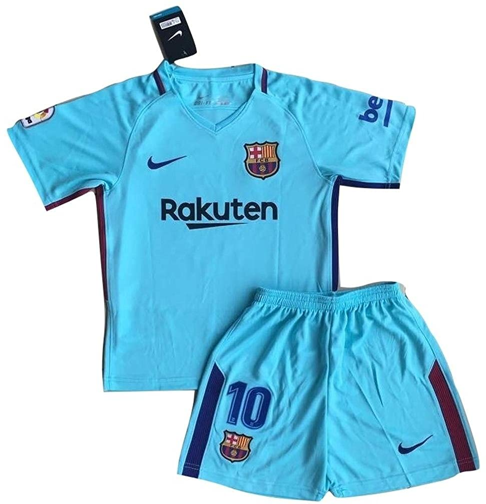 Amazon.com  TrendsNow New Messi  10 FC Barcelona Away Jersey   Shorts for  Kids Youths Blue  Clothing 818b6ffe1
