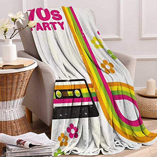 - 70s Party Warm Microfiber All Season Blanket Party Flyer Inspired Cute and Curved Stripes with Daisies Audio Cassette Tape Print Artwork Image 60x50 Inch Multicolor