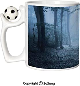 Farm House Decor Sports Football Mug,Mysterious Dark Forest All in Fog Spooky Atmosphere Wet Humid Fantasy Nature Scene Ceramic Coffee Cup,Brown White,Great Novelty Gift for Kids & Audlt