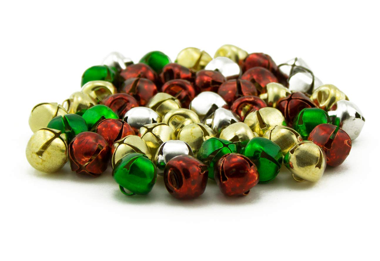 1/2 inch 13mm Silver Gold Red Green Mix Small Jingle Bells Bulk Charms 144 Pieces Art Cove