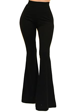 db55fe6e16 Vivicastle Women's Boho Solid Hippie Wide Leg Flared Bell Bottom Pants  (Small, Black)